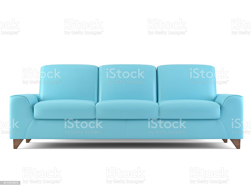 Blue sofa isolated on white stock photo