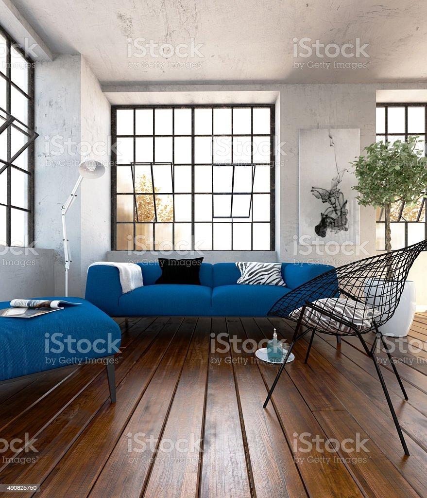 Blue sofa set in the modern living room stock photo