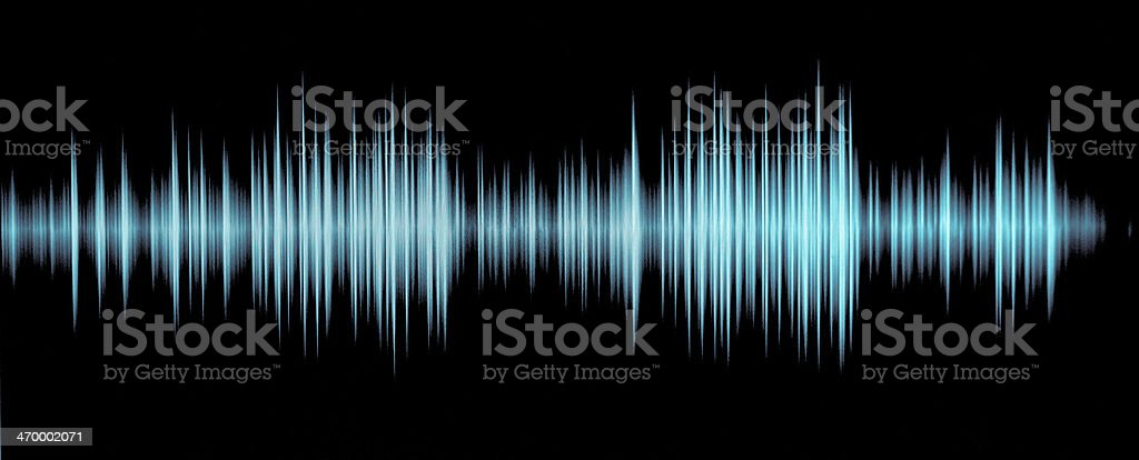 Blue sound waveform on a black background stock photo