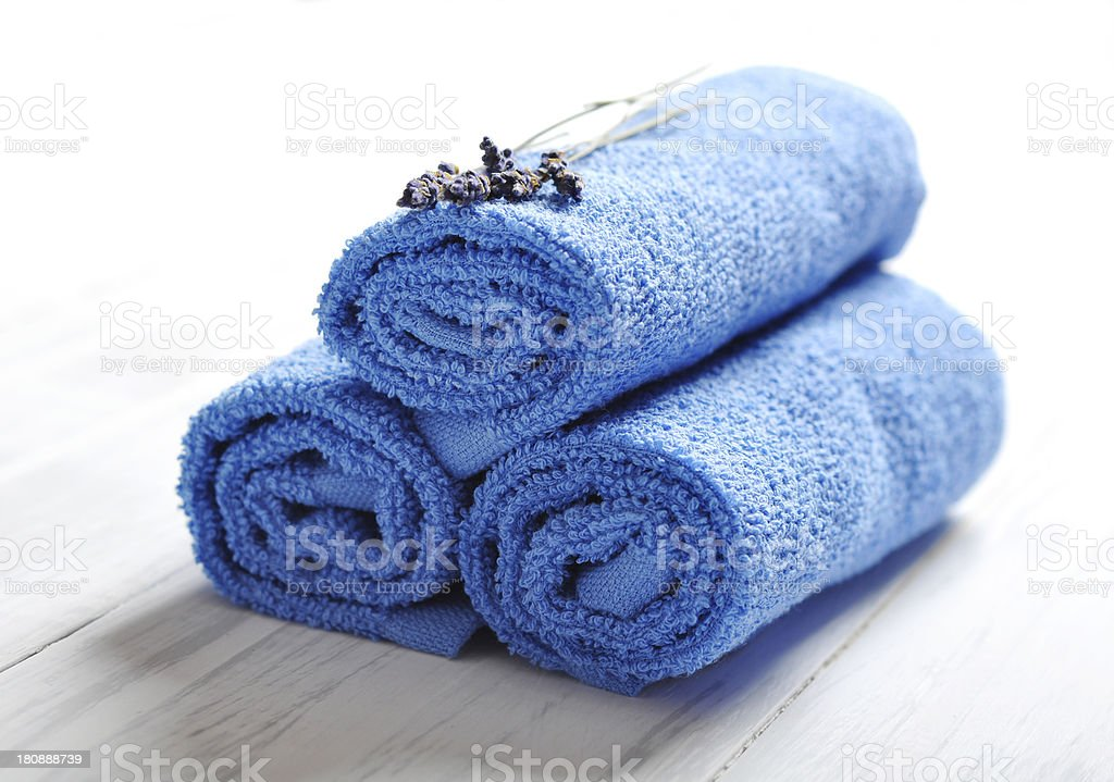 Blue spa towels pile royalty-free stock photo