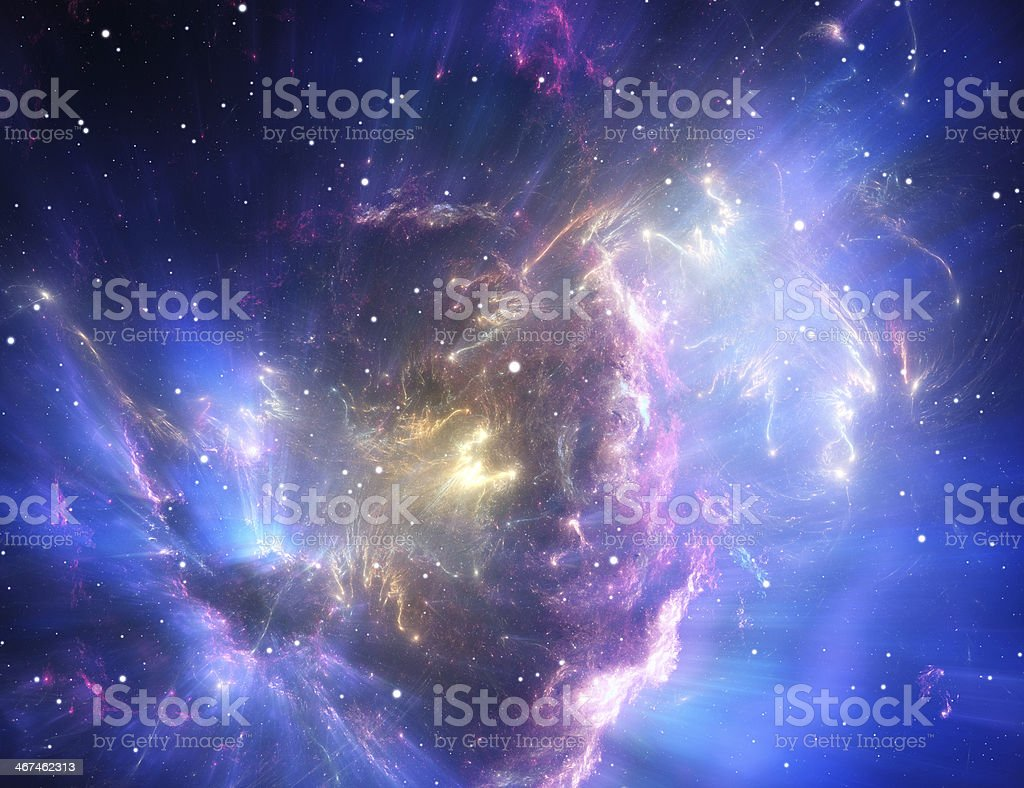 Blue space nebula stock photo