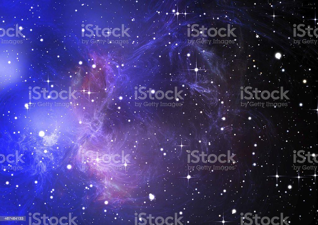 Blue space nebula royalty-free stock photo