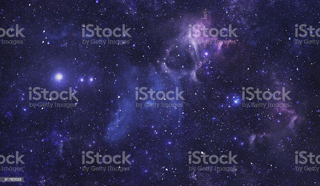 Blue space starfield stock photo