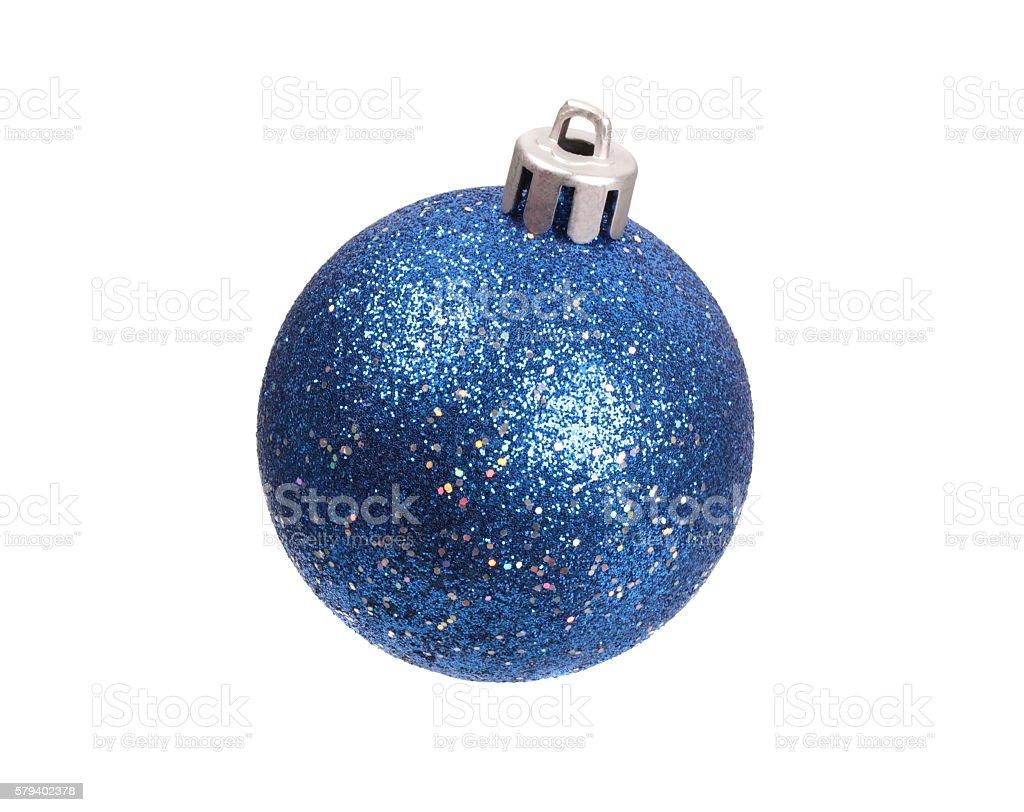 Blue spangled christmas ball stock photo