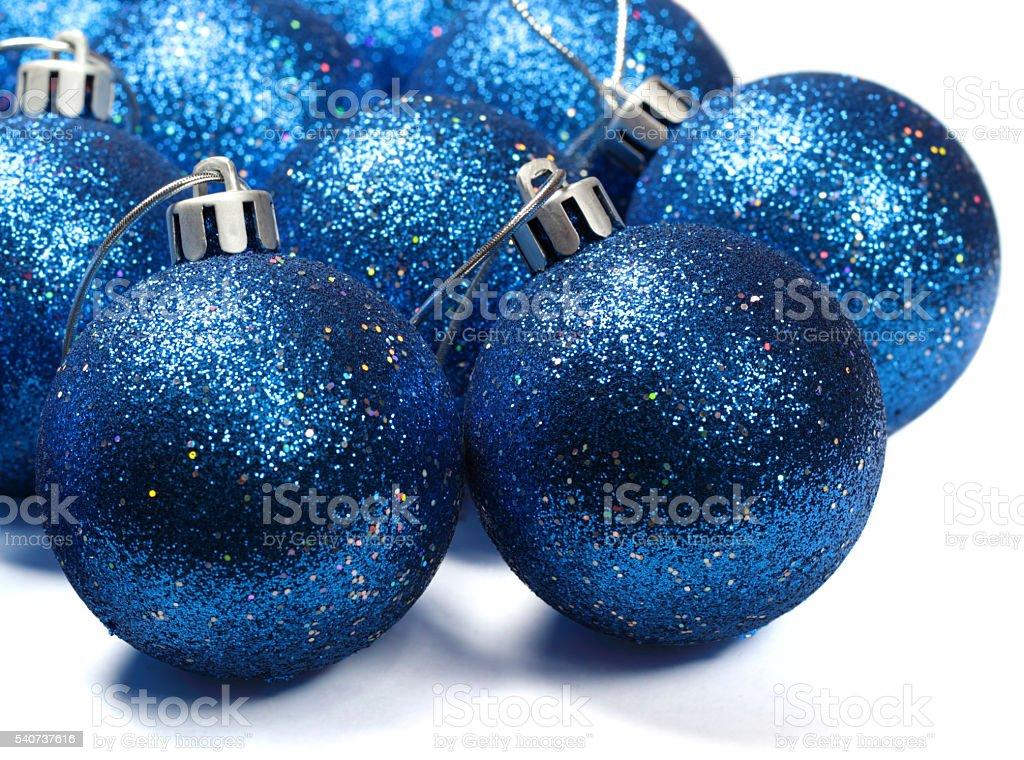 Blue spangled christmas balls stock photo