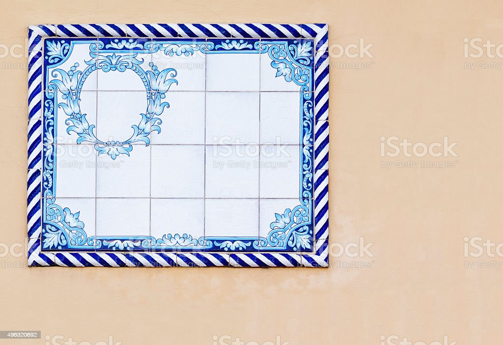Blue Spanish Tiles with Cartouche stock photo