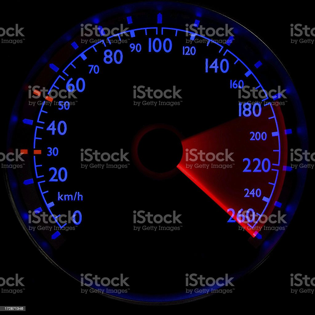 Blue speedometer - accelerating from 180 to 260 km/h royalty-free stock photo