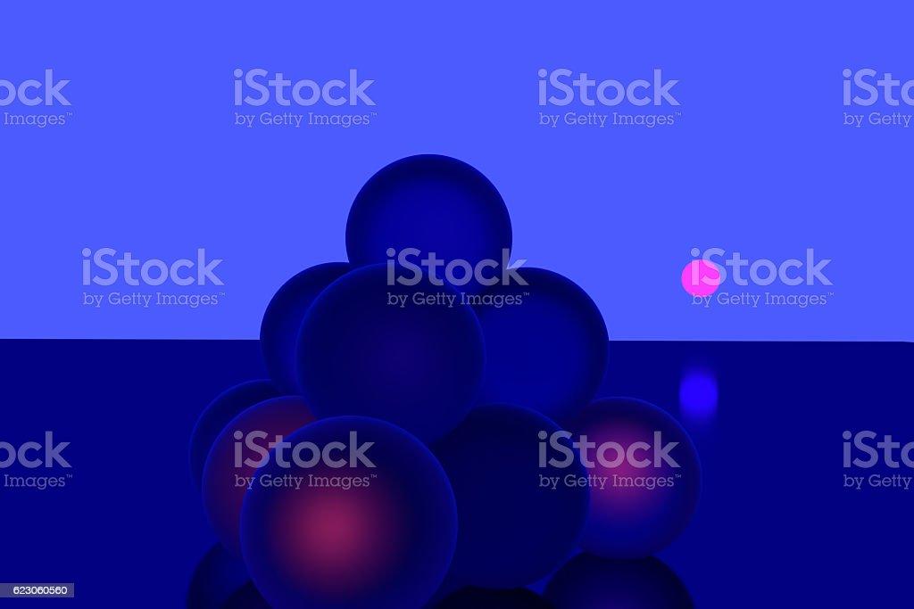 blue spheres - some glowing reddish stock photo
