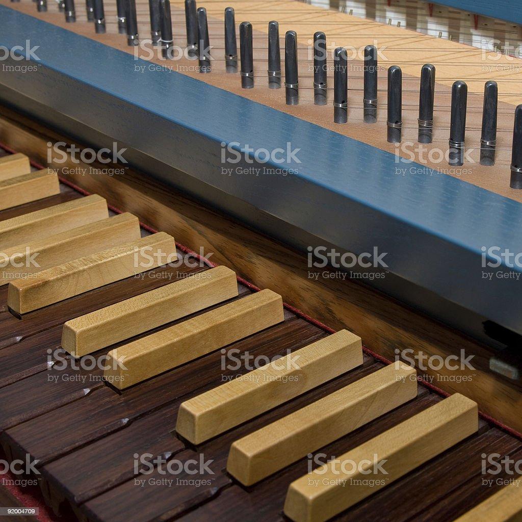 Blue spinet (harpsichord) stock photo