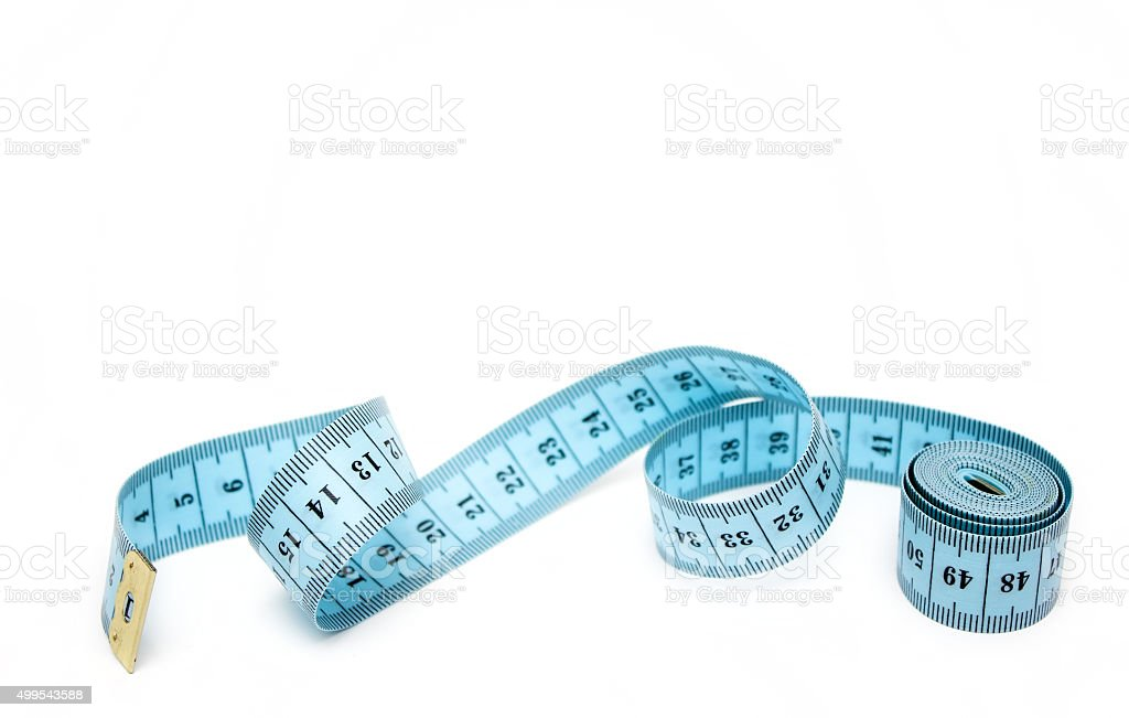 Blue spiral measuring tape isolated on white background. stock photo