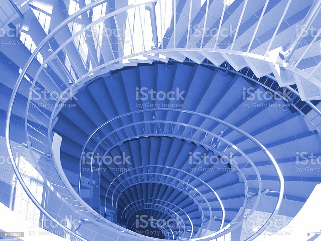 Blue Spiral Stairs royalty-free stock photo