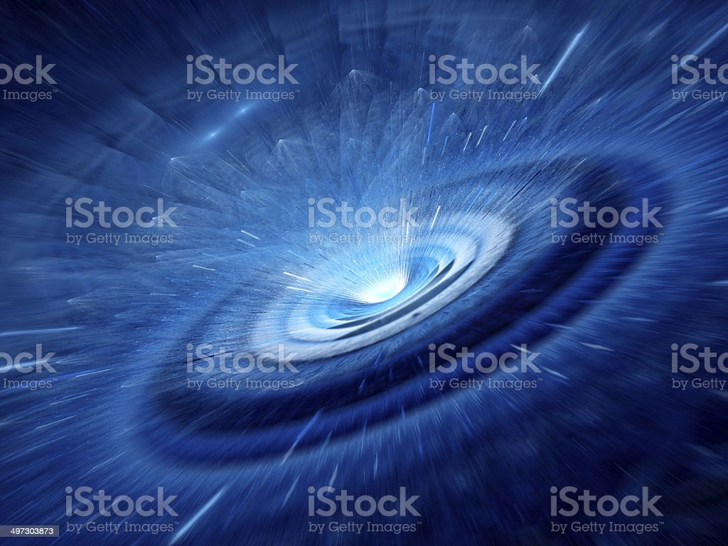 Blue spiral wormhole stock photo
