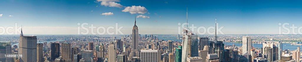 Blue spires of Manhattan panorama royalty-free stock photo