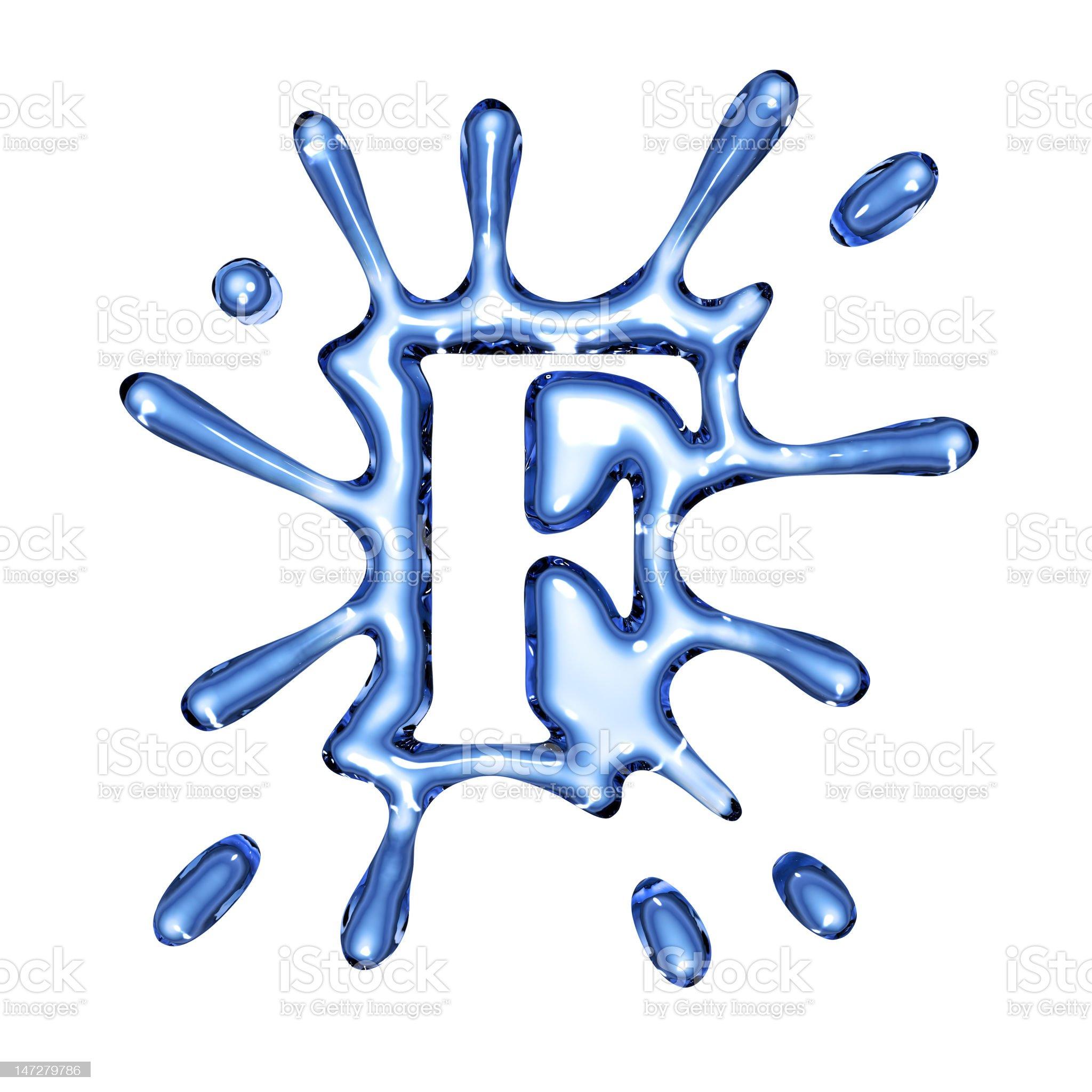 Blue splash water letter F royalty-free stock photo