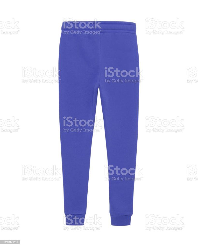 Blue sport sweatpants isolated white stock photo