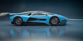 Blue Sports Car in a Wind Tunnel