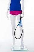 Blue sports shirt and short pink shorts.