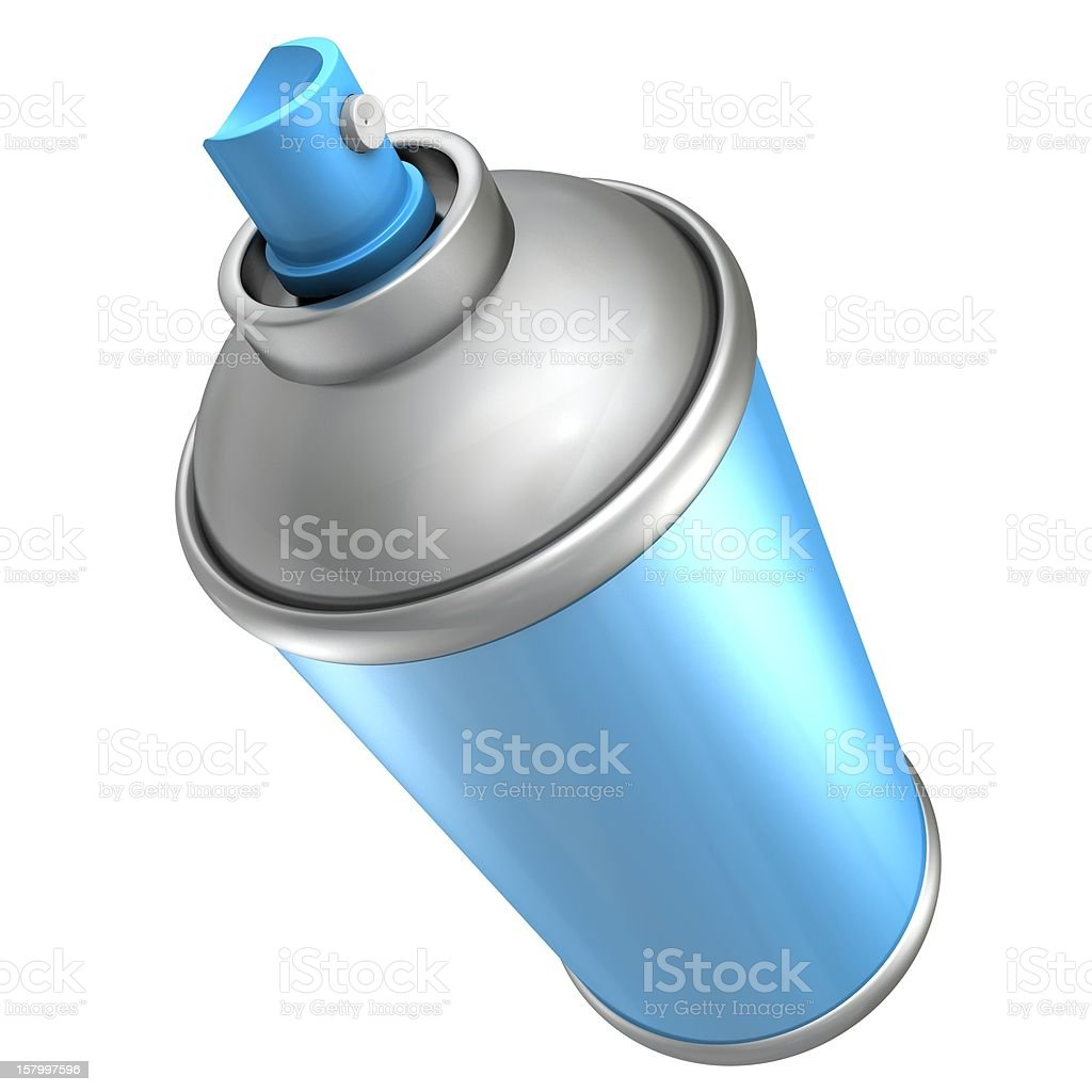 blue spray paint can bottle on white background royalty-free stock photo