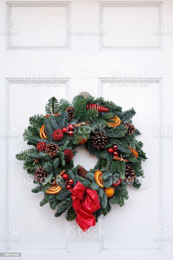 Blue Spruce Christmas Wreath stock photo