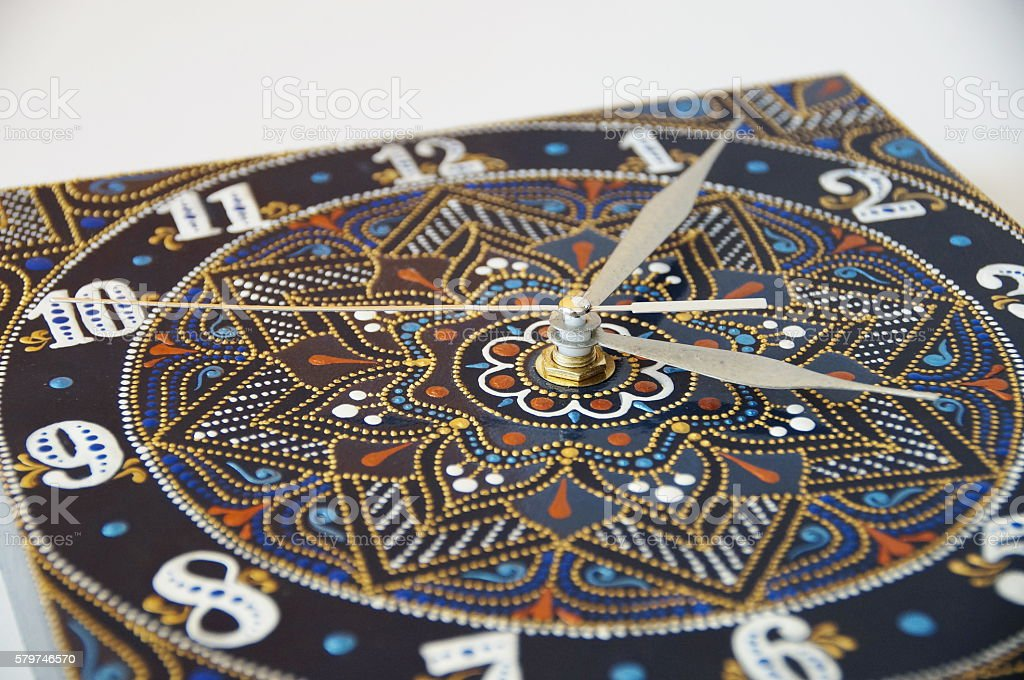 blue square handmade watches stock photo