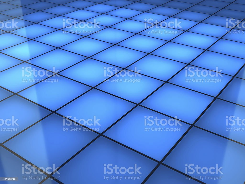 A blue squared dance floor background stock photo