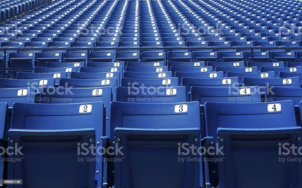Blue Stadium Bleachers stock photo