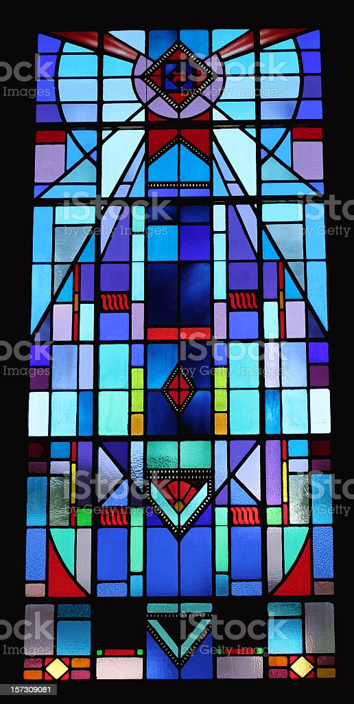 Blue Stained Glass stock photo