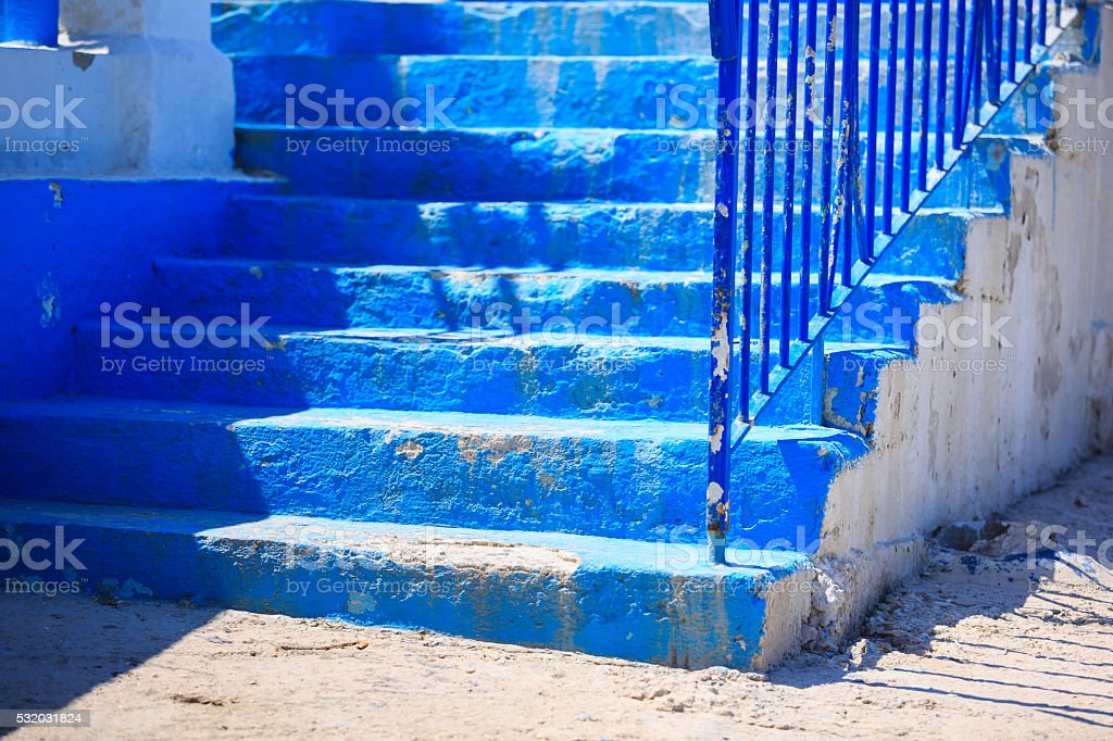 blue stairs stock photo