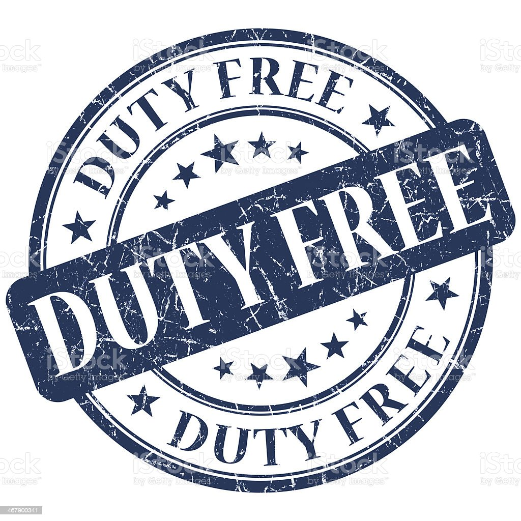 DUTY FREE blue stamp stock photo