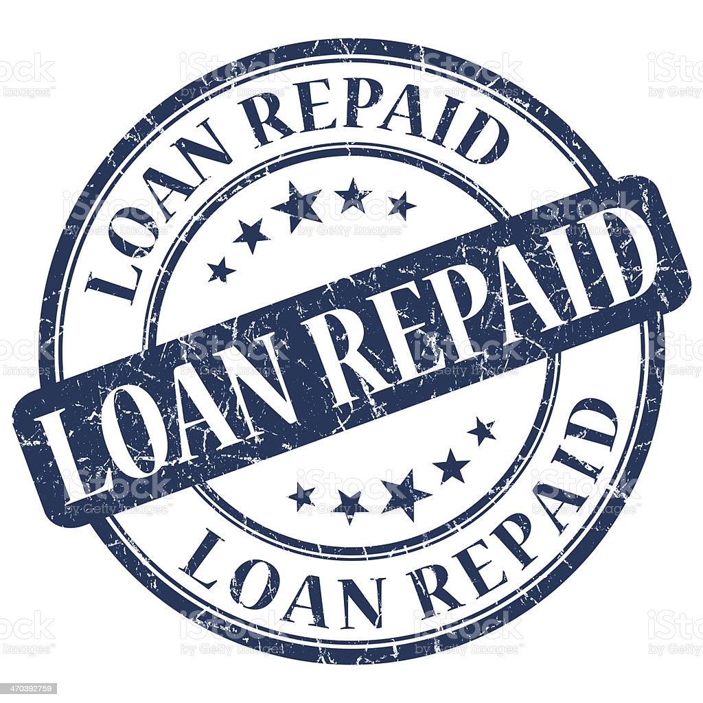 LOAN REPAID Blue stamp stock photo