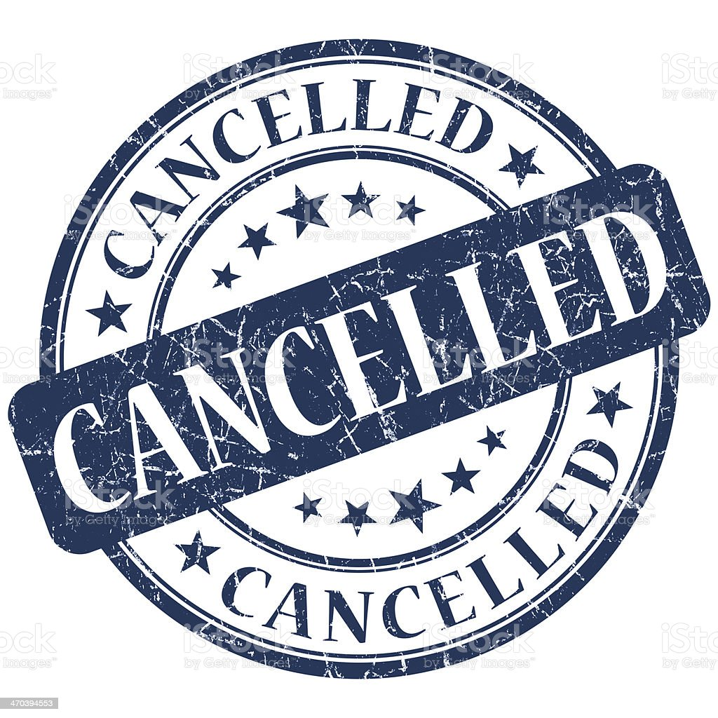 CANCELLED Blue stamp stock photo