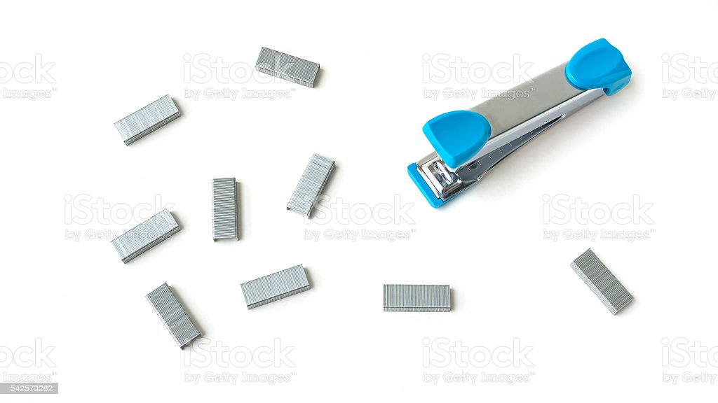 Blue stapler and staples isolated on white background stock photo