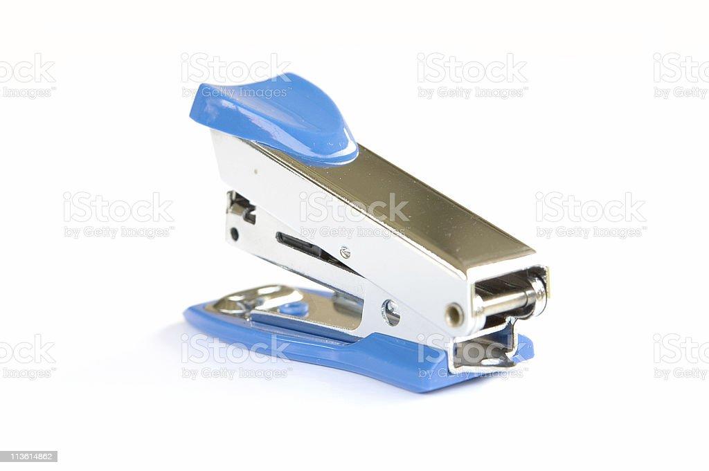 Blue stapler on white background stock photo