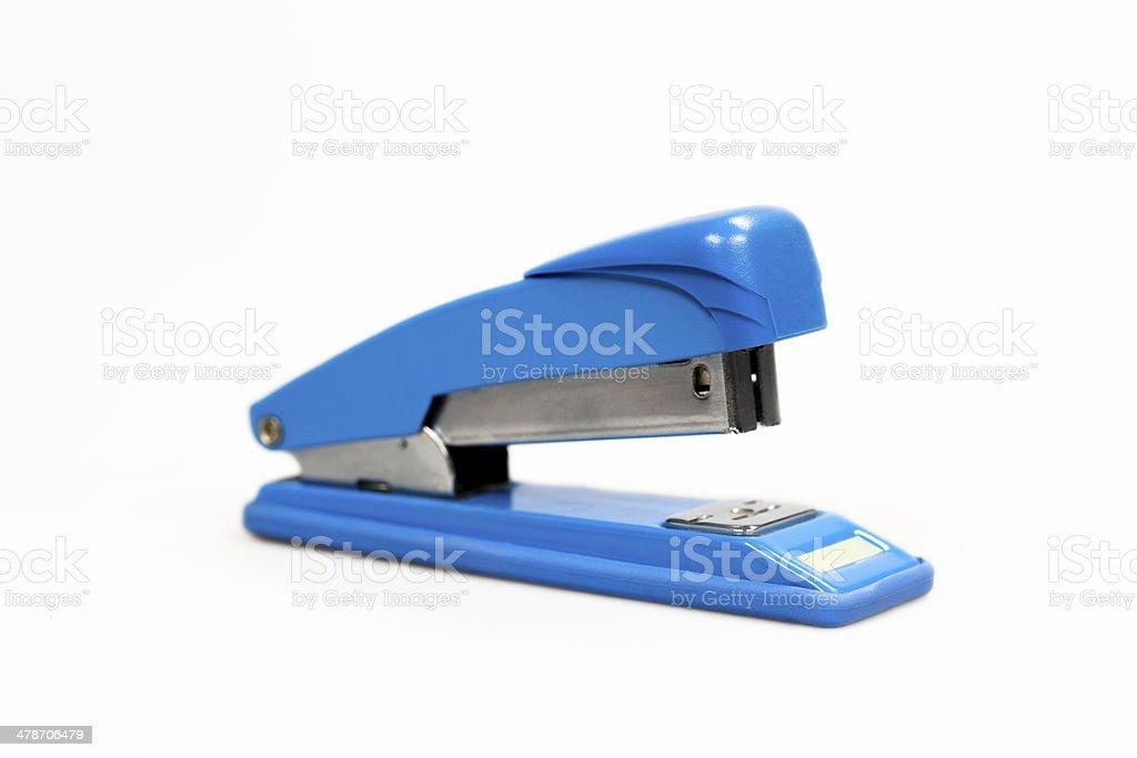 blue stapler stock photo
