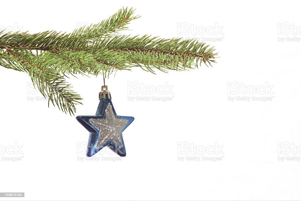 Blue star christmas ball stock photo