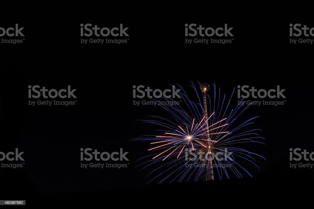 blue star firework stock photo
