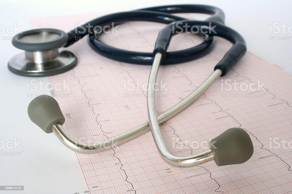Blue stethoscope on ECG stock photo