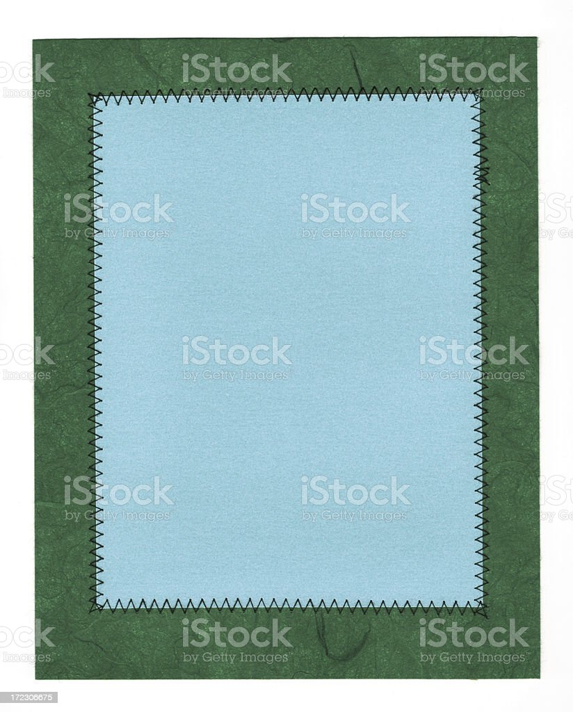 blue stitched art paper stock photo