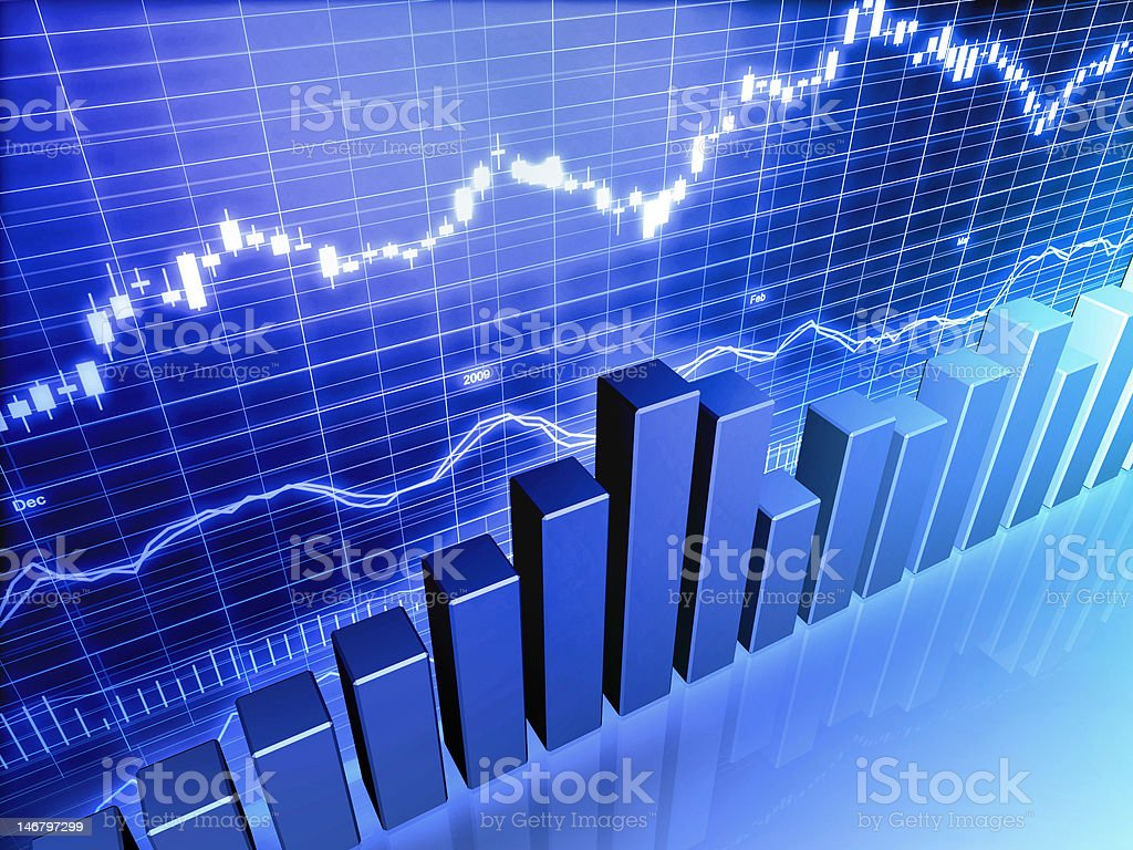 Blue Stock Market Graph royalty-free stock photo