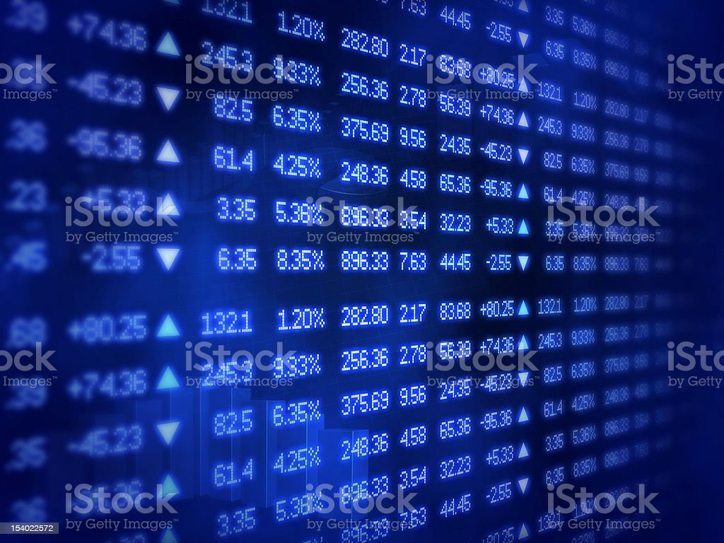 Blue Stock Market Ticker Board stock photo