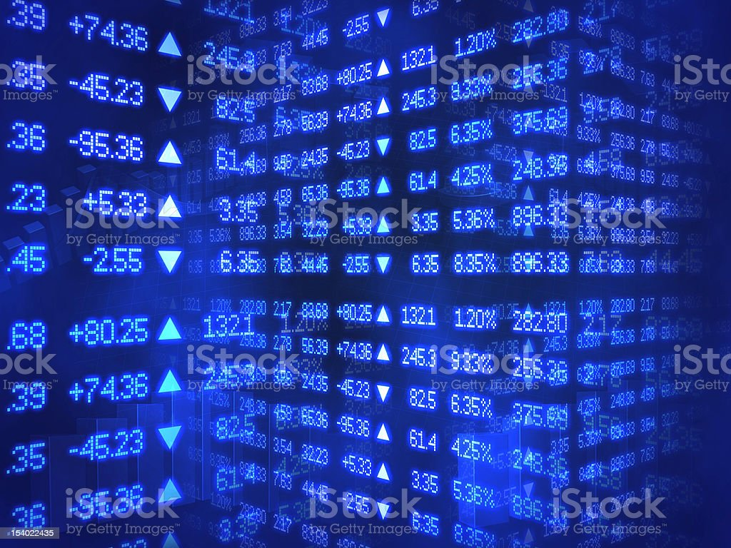 Blue Stock Market Ticker stock photo