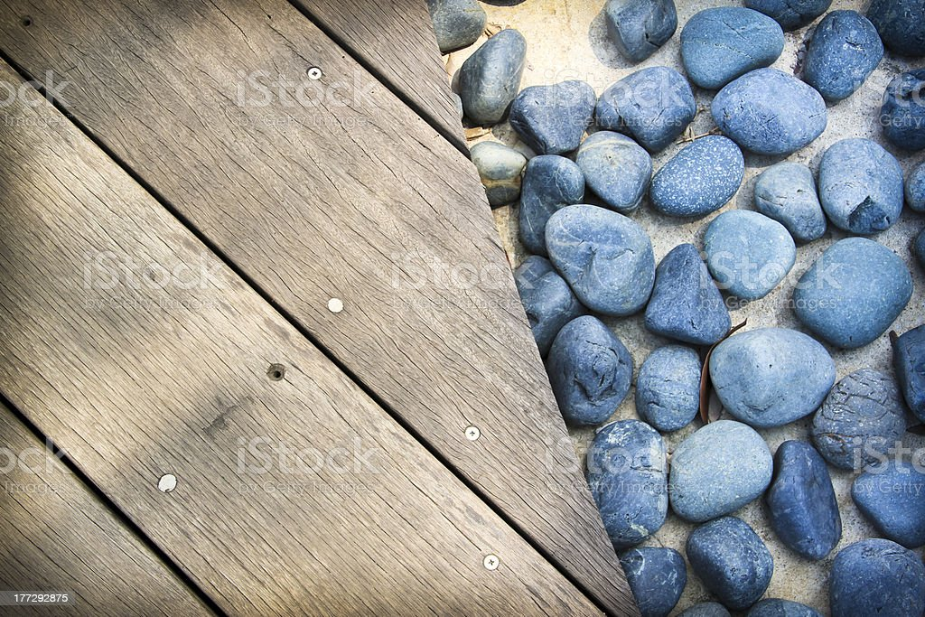 blue stones wooden boards background royalty-free stock photo