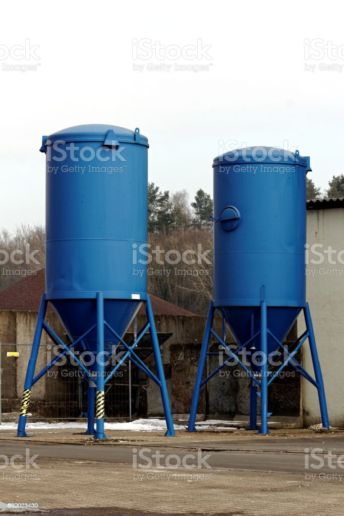 blue storage silos stock photo