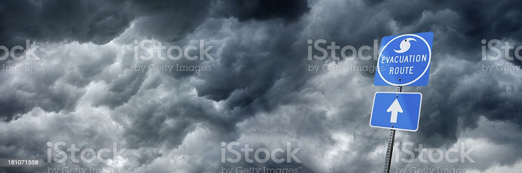 Blue storm evacuation route road sign royalty-free stock photo