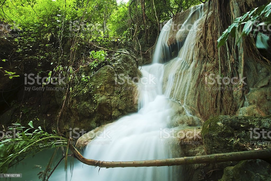 Blue stream waterfall in Kanjanaburi Thailand royalty-free stock photo