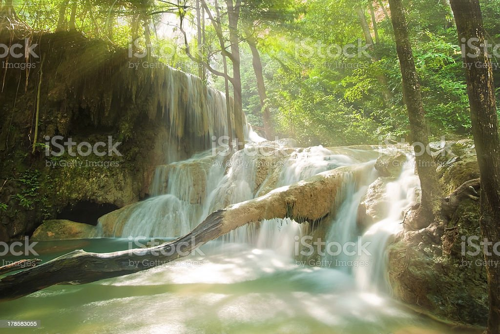 Blue stream waterfall in Kanjanaburi Thailand royalty-free stock photo