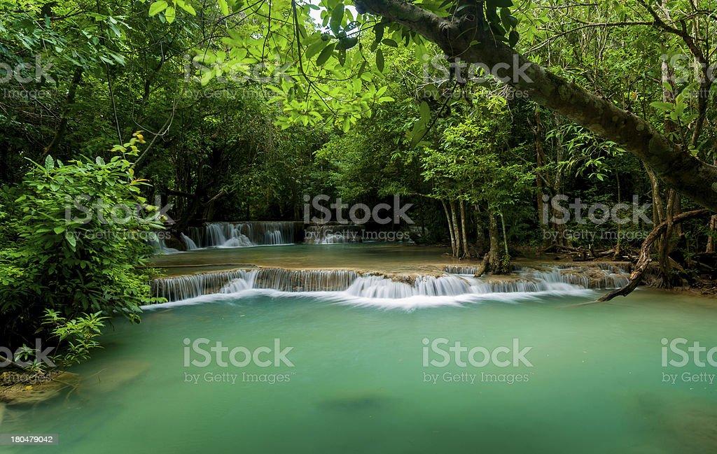 Blue stream waterfall in Kanjanaburi Thailand stock photo