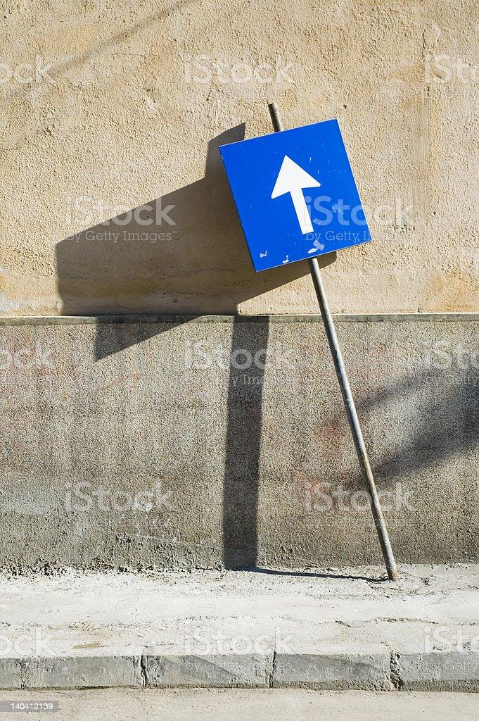 Blue street sign, Romania. royalty-free stock photo