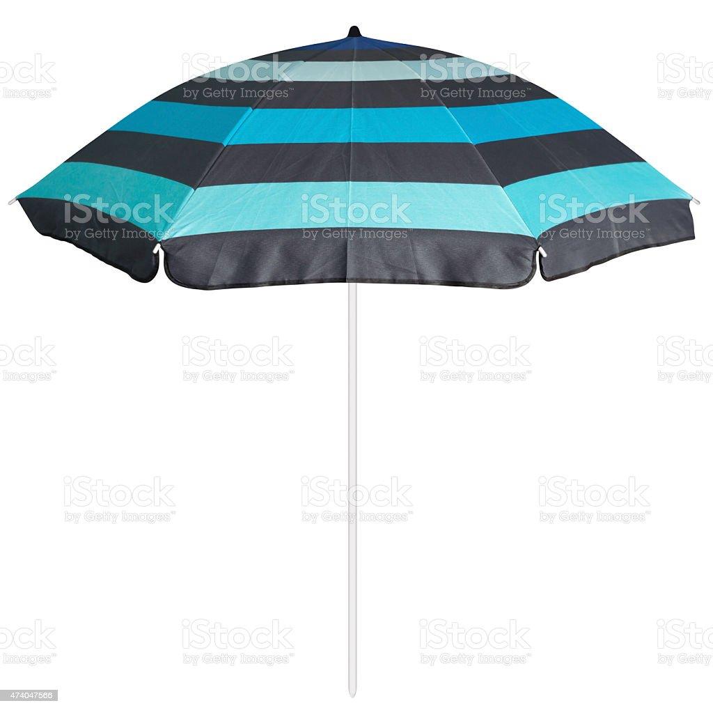 Blue striped beach umbrella stock photo