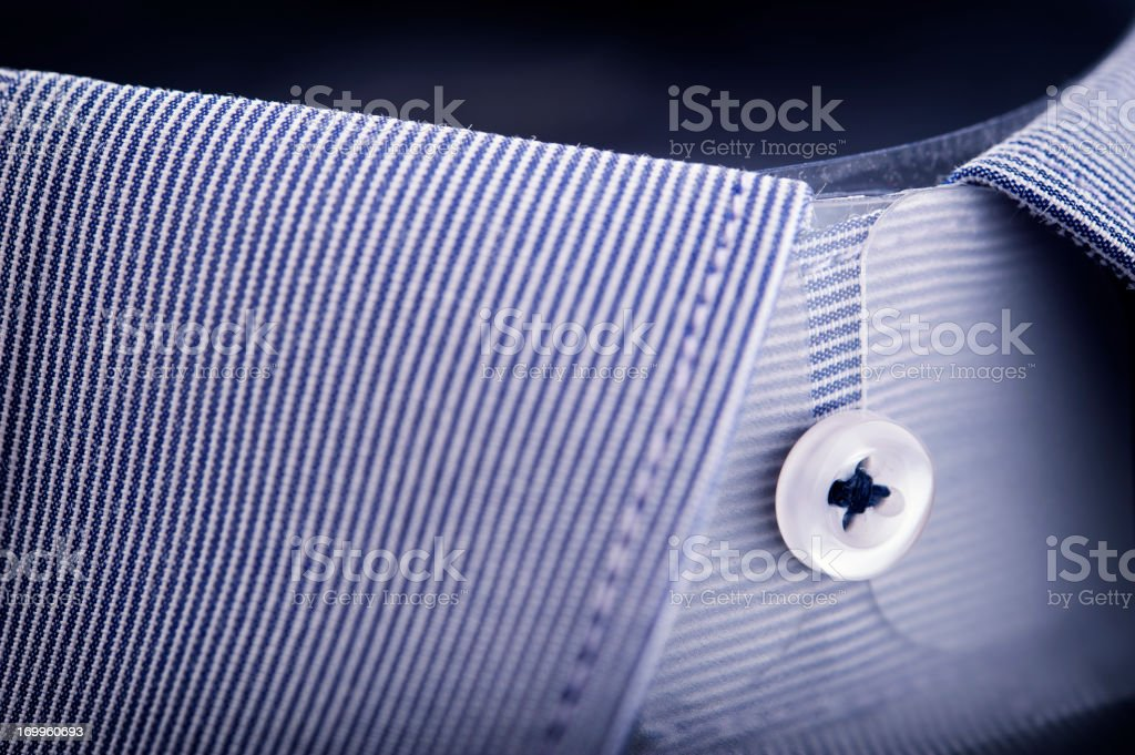 Blue striped shirt collar stock photo